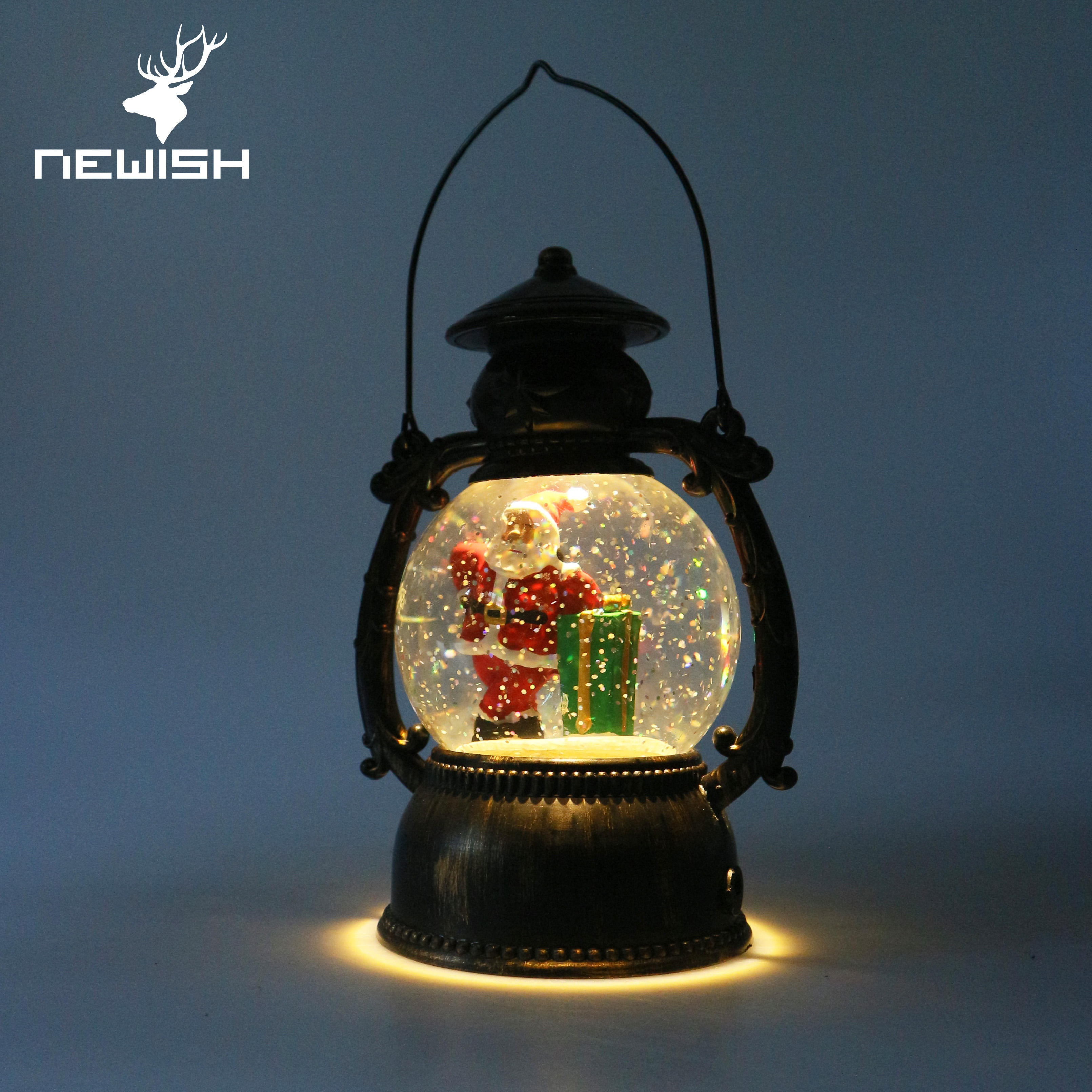 Newish Sale 20センチメートルHome Decor Gifts Led LightとBattery Operated Lighted Swirling Glitter Water Ornament Christmas Lantern