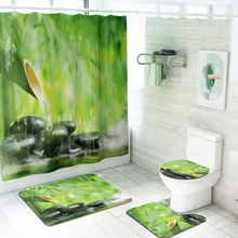 Wholesale Chinese style fresh and elegant bathroom carpet set 100% polyester bathroom shower curtain with bathroom mat