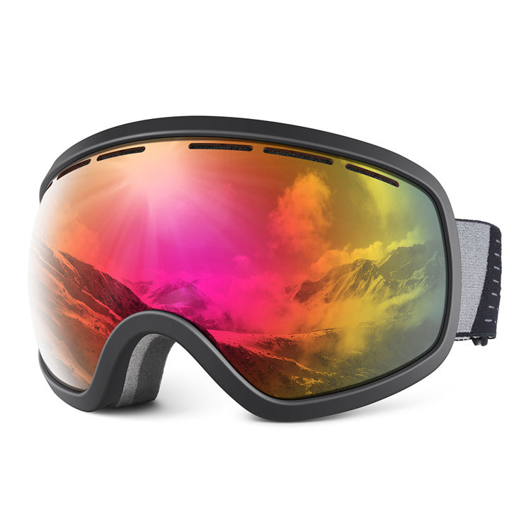 Plated colored lens design TPU frame soft and comfortable snowboard snow goggles