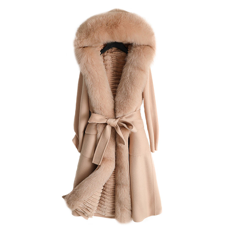 Wholesale Thick Rabbit Fur Fox Fur Collar Wool Coat Customized Double Wear Winter Warm Fashion Style Cashmere Coat With Fur