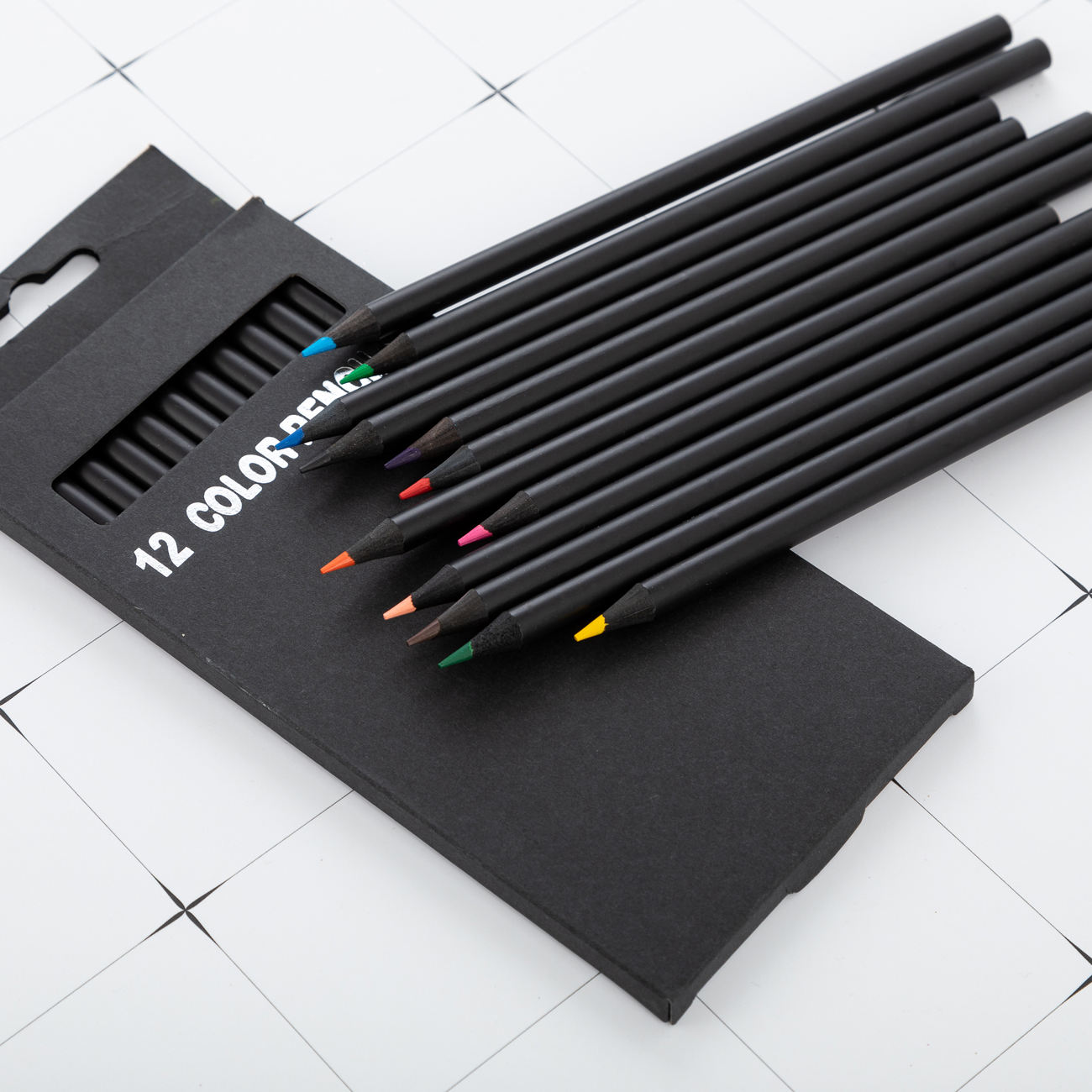 Promotion Custom logo printed Black wooden Multi-color pencil HB pencil