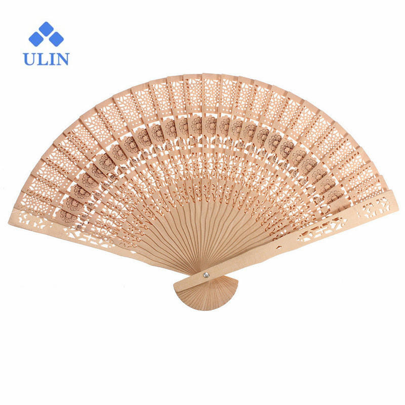 Chinese Sandalwood Scented fans Wooden Openwork craft fan personal Hand Held Folding Fans for Wedding gift Birthday Home Decor