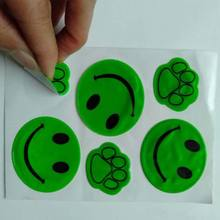 custom ce en471 6p popular cheap die cut smile face adhesive emoji reflector vinyl flash reflective sticker for kid bike bicycle
