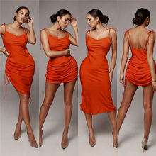 Backless Drawstring Sleeveless Midi Dress Fashion Apparel Women Casual Dresses