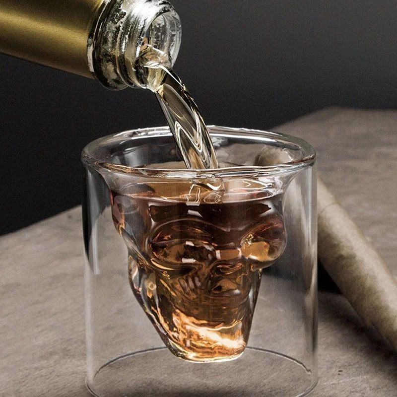 Coffee Mug Double-Layered Transparent Crystal Head Glass Cup For Household Whiskey Wine Vodka Bar Club Beer Wine Glass