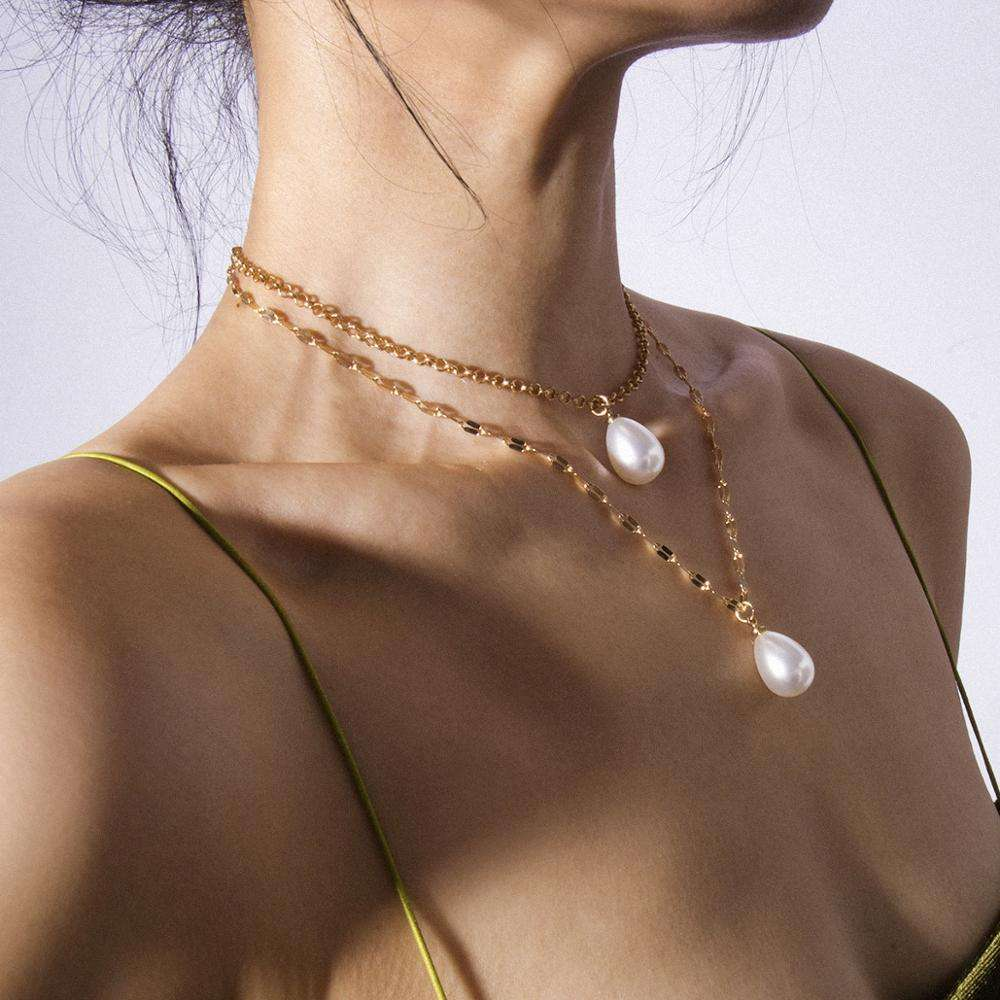 OEM Hot Selling Fashionable Multi Golgen Necklace Women Ladies Choker Pearl Necklace