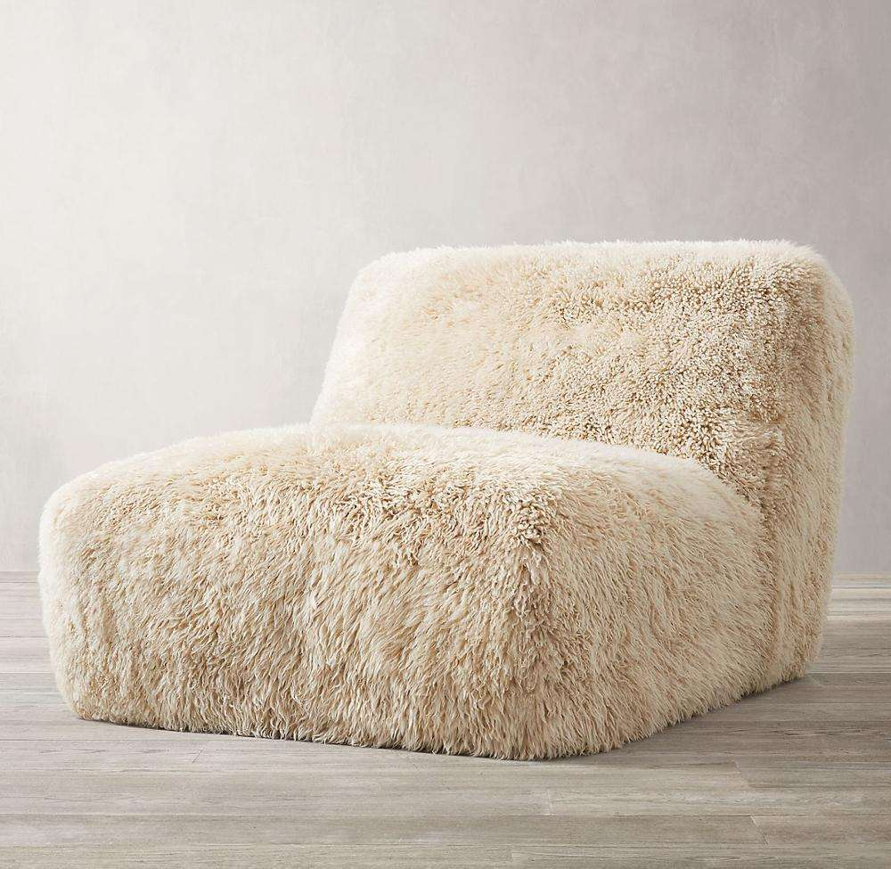 Home furniture wrapped in luxe, long-haired sheepskin living room sofa sheepskin chair