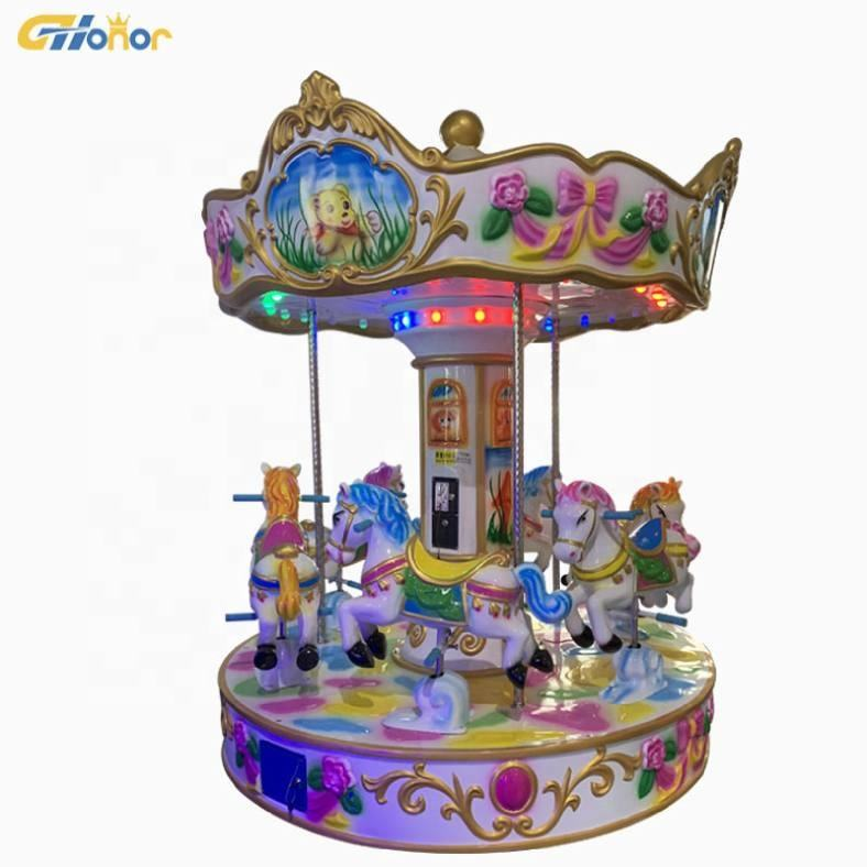 Amusement park 6 players carousel fiberglass horse ride merry go round carousel for sale