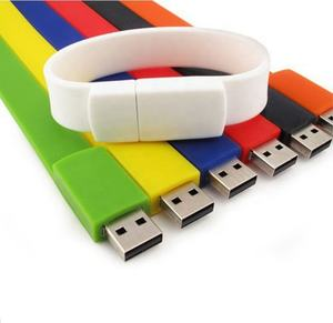 Custom logo silicone rubber bracelet wrist band with USB flash drive