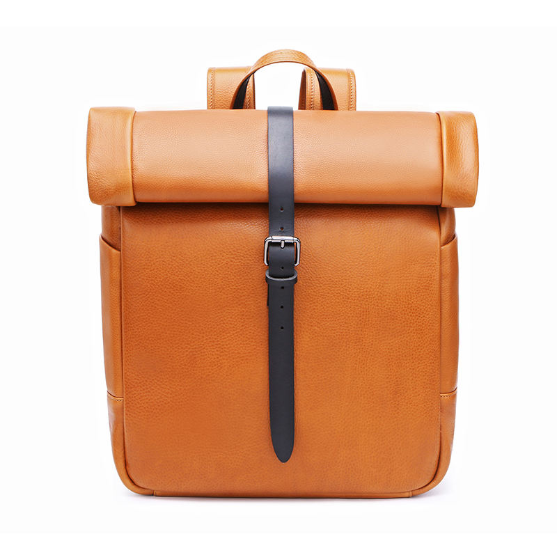 Custom High Quality Italy Cow Leather Full Grain Genuine Leather Men Backpack Retro Vintage Laptop Travel Bags China Factory