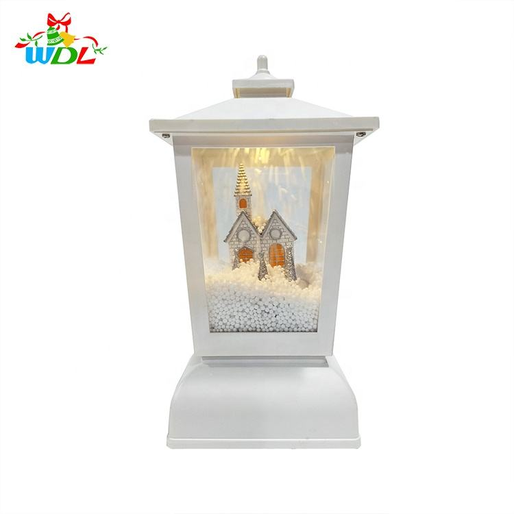 New Arrival 2020 Unique Designed LED Light Up Xmas Decorations Village Scene Christmas Snowing Lamp With Fan Blowing Snow