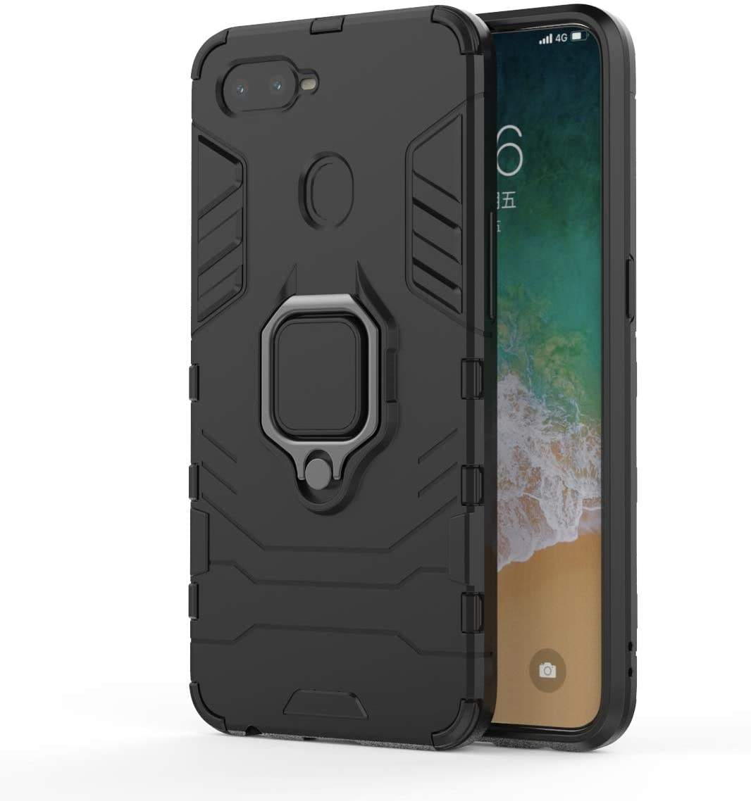 Voor Oppo A5 Black Panther <span class=keywords><strong>Telefoon</strong></span> Case Hybrid Hard Shell Pc & Soft Tpu Beschermhoes Met Magnetische Auto Mount