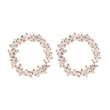 dainty jewelry trendy aretes de mujer 925 sterling silver cz earrings rose gold plated pave floral stud earrings