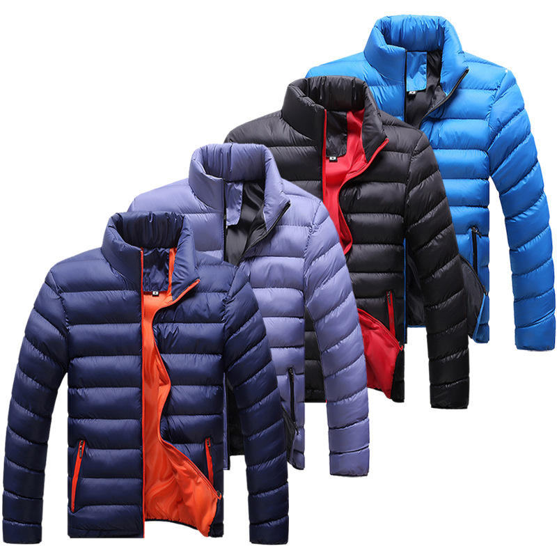 Hot Sale Man Winter Jacket Stand Collar Parka Jacket Solid Thick Jackets and Coats Mens Winter Parkas M-5XL