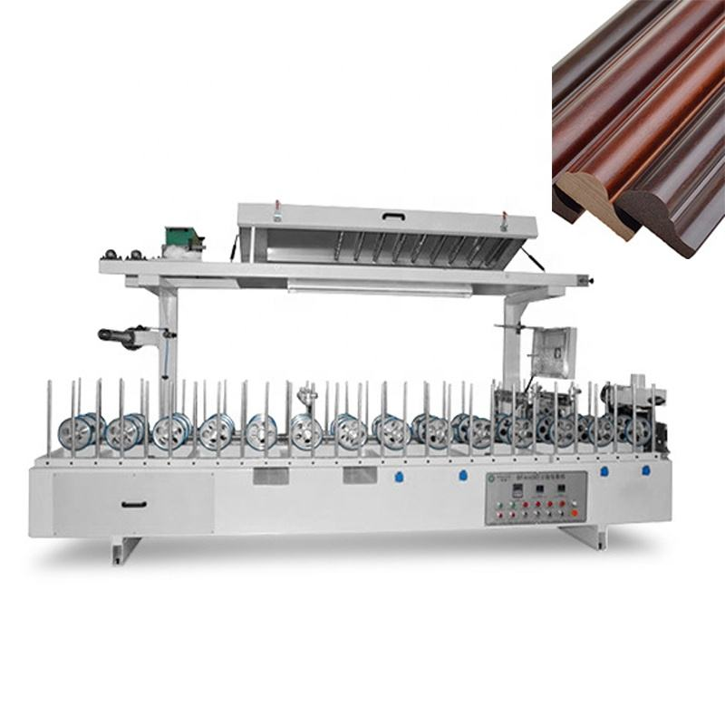 Wooden frame cold glue combined pvc profile wrapping machine