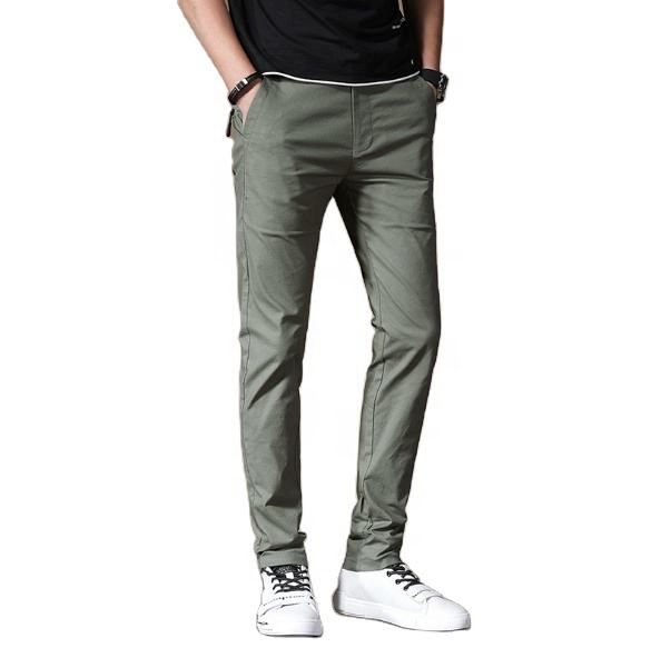 100% cotton casual track pants for men Most popular solid color men's slim trousers fashion men's casual pants