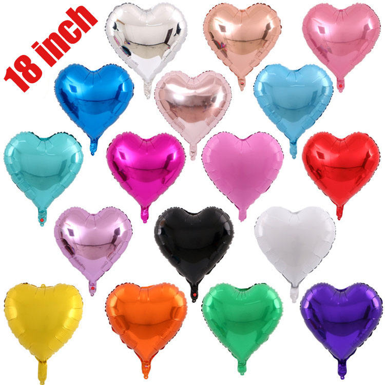 Factory price 20 colors colorful 18inch inflatable helium plain mylar heart foil balloon for anniversary party decoration