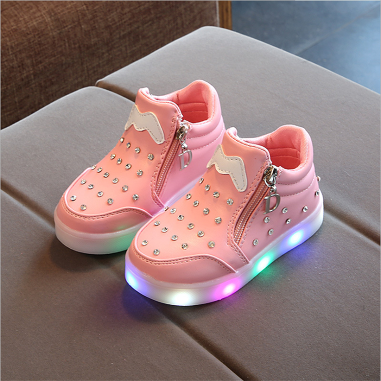 Cartoon LED noctilucent soft-soled shoes for girls Pu Led children's shoes