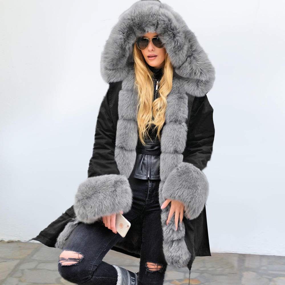 Men Clothes Clearance Charberry Long Faux Fur Coat Coat Warm Plus Thickening Jacket Parka Outwear Cardigan