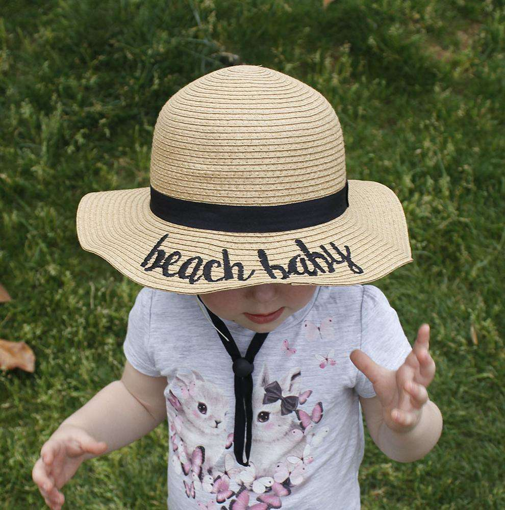 Kids straw hat summer new braided embroidered alphabet basin hat joker beach sun hat for girl