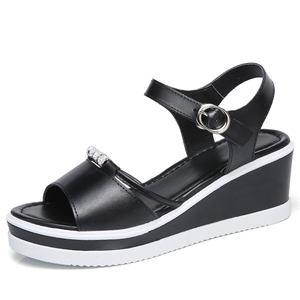 NEWFashion flat Women Wedges summer sandals for women PU outsole leather upper Crystal decoration women slide sandals shoes