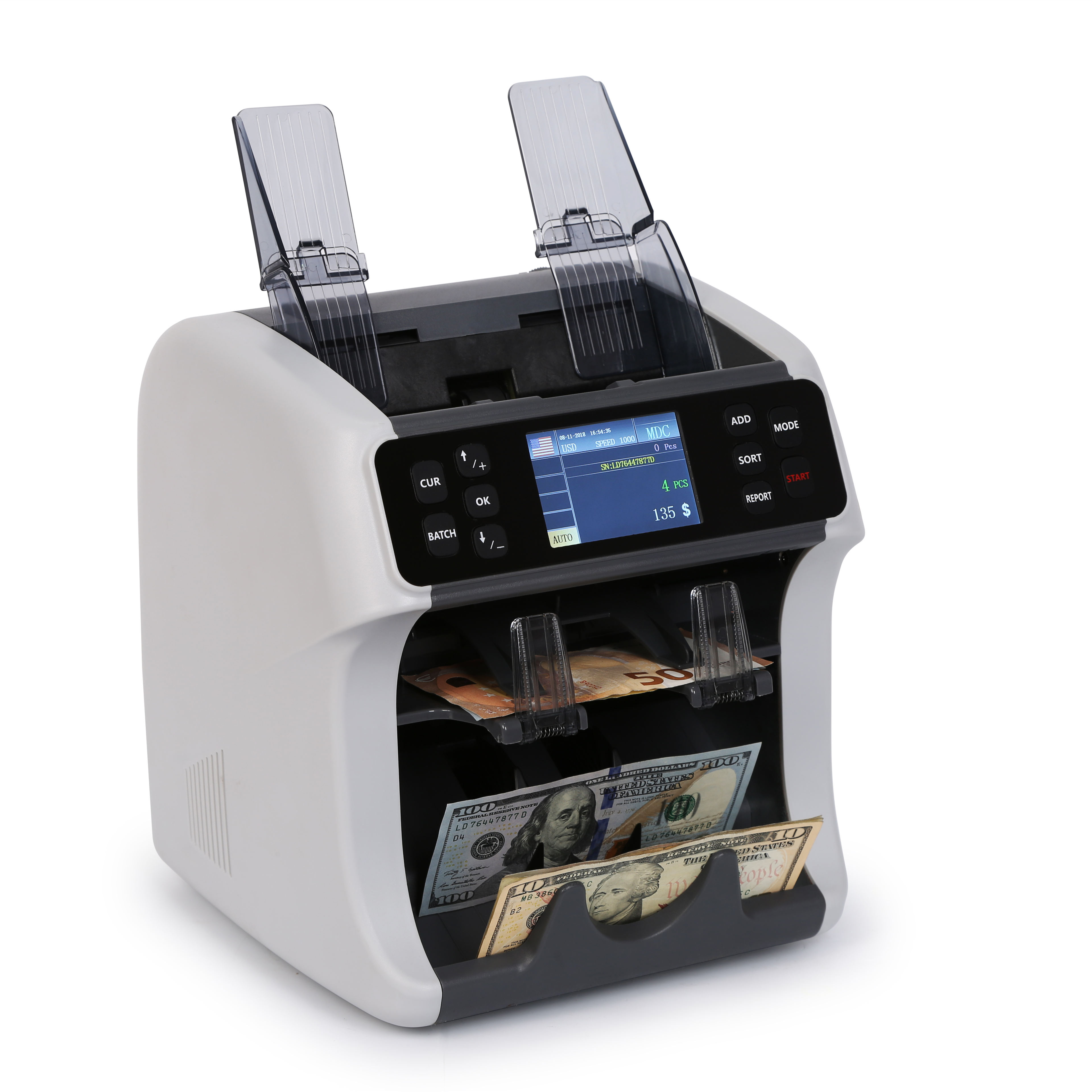 Banks [ Money Machine ] Money Machine Financial Equipment 2 Pocket Money Note Multi Currency Mix Value Counting Sorter Machine SH-08C