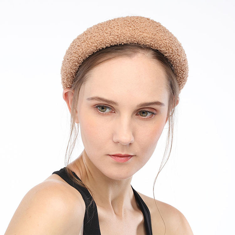 Wholesale ladies headwear wide hair hoop, fashion winter style sponge padded sherpa headband