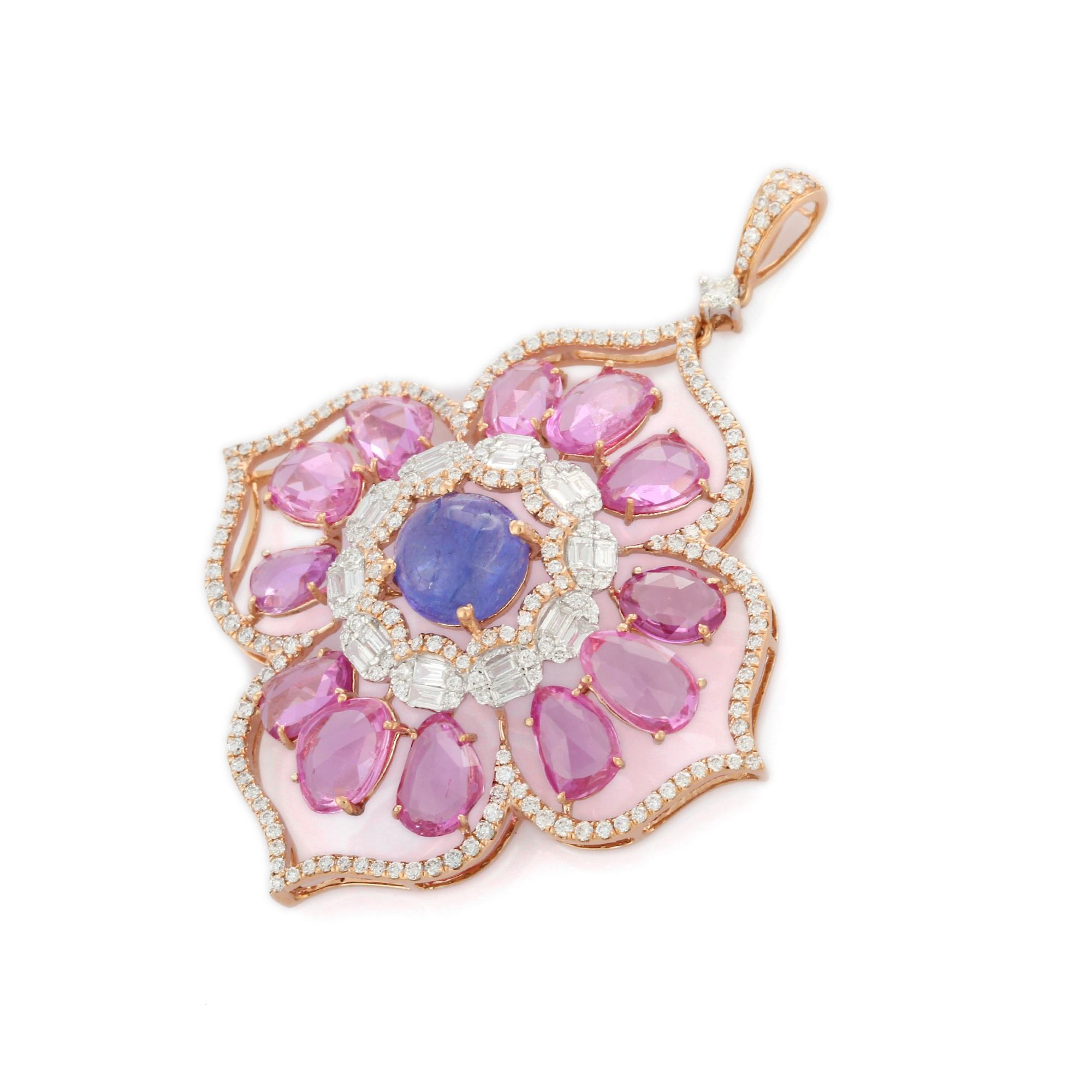 Classic Natural Precious Sapphire & Tanzanite Round、Unshape Gemstone With Diamond 18 18k Solid Pink Gold Pendant