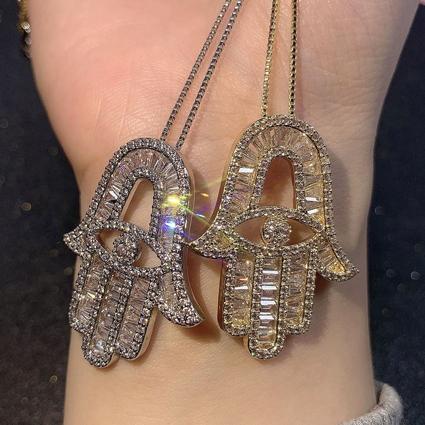 Hot Sale Hamsa Hand Eye Cubic Zirconia Diamond Gold Silver Plated Charm Necklace Hip Hop Turkish Bling Jewelry