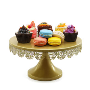 Gold Metal Iron Party Decorative Dessert Display Cupcake Stand Round Cake Stand tier cake tray for Wedding