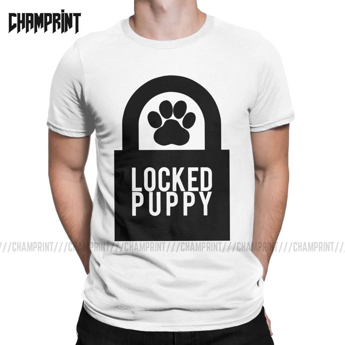 Men's T-Shirt Locked Puppy BDSM Cotton Tees Short Sleeve Dominant Submissive Slave Play Submission Master Sexy Sub T Shirt