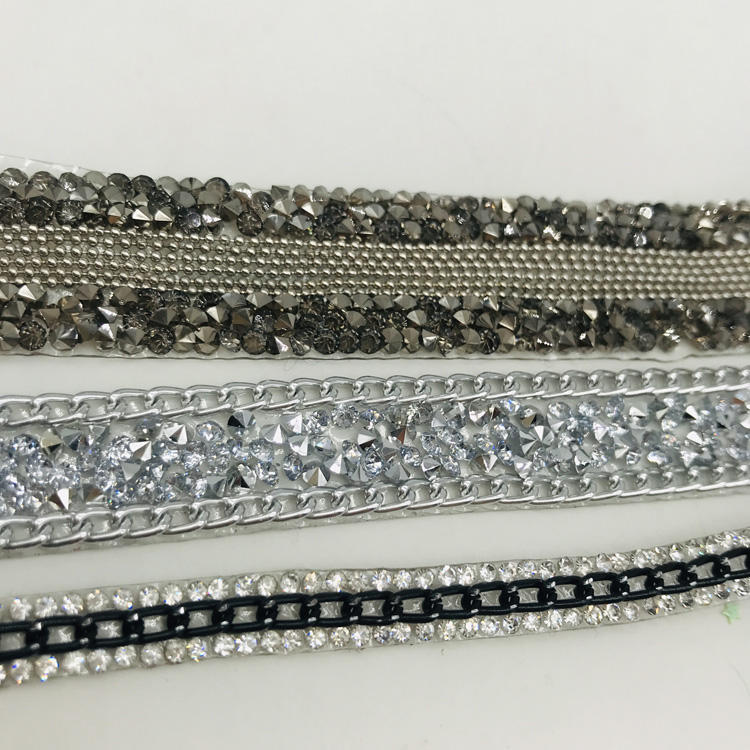 Hotfix Rhinestone chain trimming crystal mesh banding for garment decoration