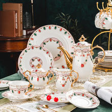 Luxury 22pcs Porcelain Afternoon Coffee Tea Set with Gold Decor