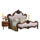 Vintage Villa Bed Luxury Hand Carved Wood Leather Adjustable Queen Double Bedroom Set