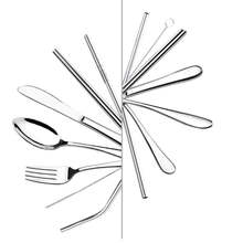 Durable Stainless steel travel cutlery set,Portable flatware utensils with drinking straw Tableware Case Kit For Camping Picnic