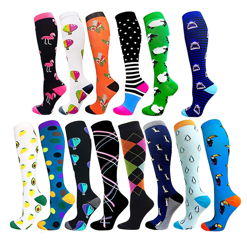 Nylon spandex Sports running nurses 20-30 mmHg compression socks