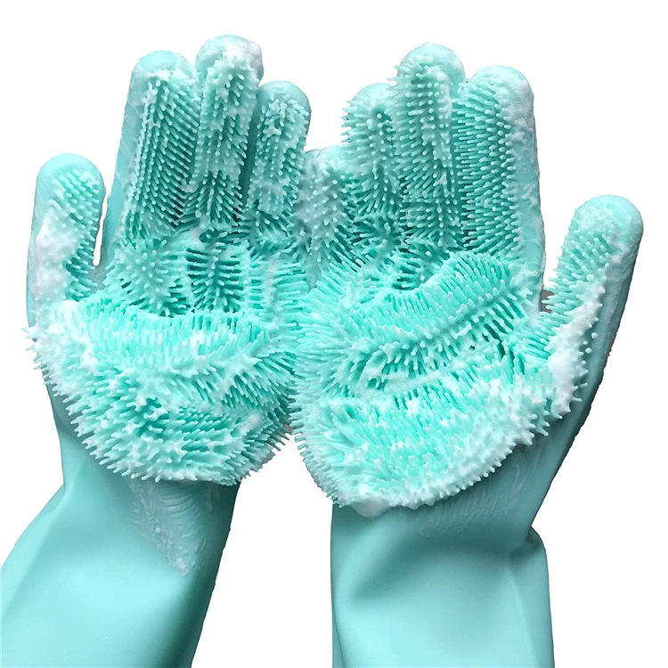 Silicone Reusable Cleaning Brush Heat Resistant Scrubber Gloves for Housework, Dishwashing, Kitchen Clean,Bathroom,Bathing