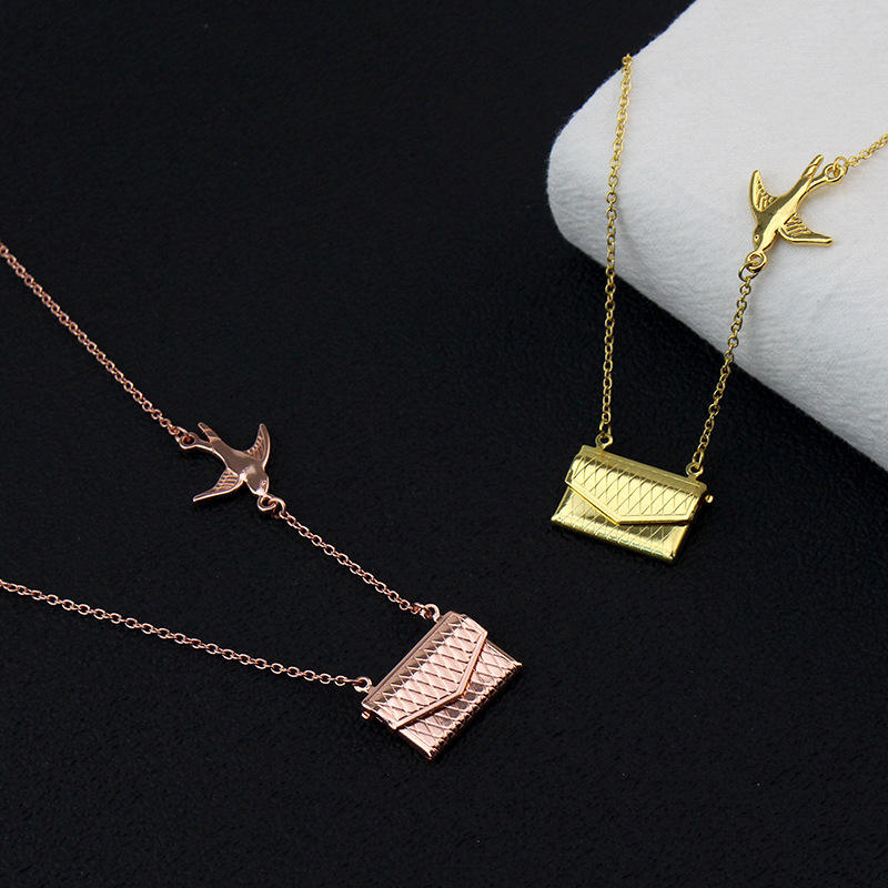 Personalized Creative Money Bag Necklace Initial Envelope Sterling Silver Pendant Chain Handbag Necklace Envelope Necklace
