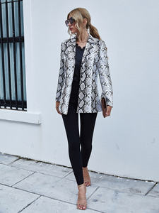 Latest designs Snakeskin print casual elegant ladies jackets coat women suits blazers for women ladies