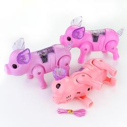 Rope Pig Electric Walking Luminous Music Portable Children Creative Toy Electric light-emitting rope toy pig