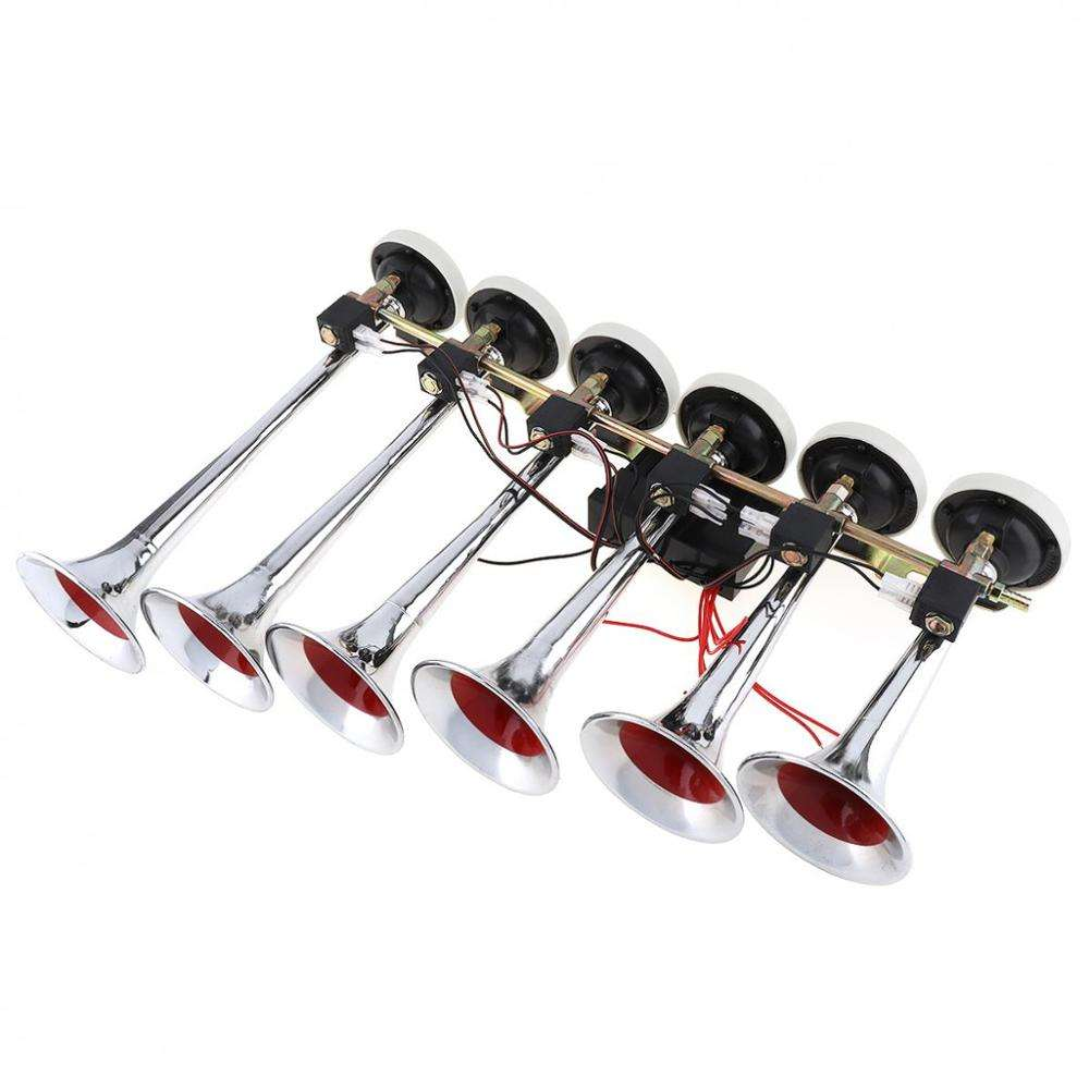 Support Ocean Shipping Hot Sale 12v 24v Loud Six Tubes Trumpet Electric Musical Car Truck Air Horn