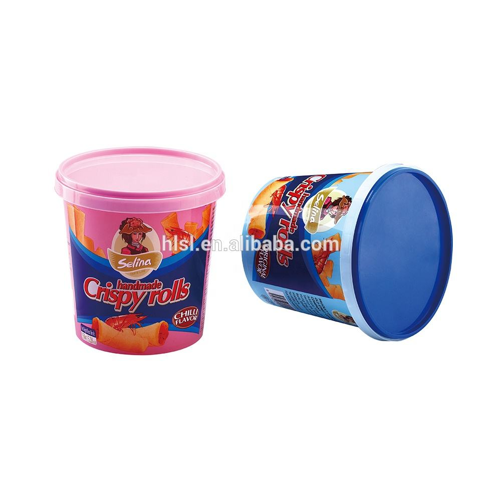 High Quality Wholesale Customized 730ml round IML Packaging Plastic Food Snacks Containers With Tamper Proof Evident Lid