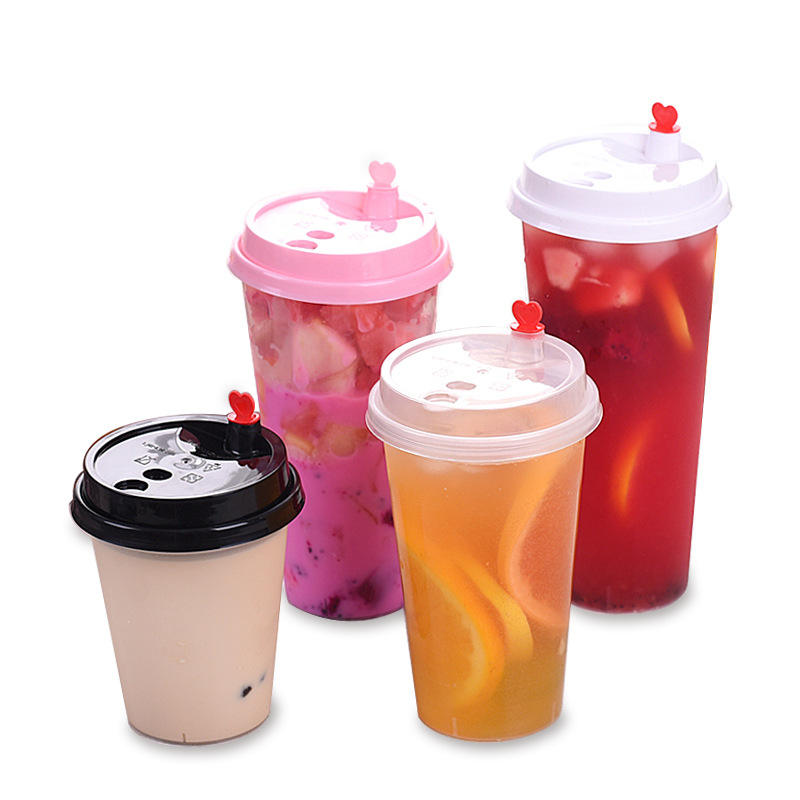 Wholesale high quality milk tea and juice round bottom plastic packaging cup 12oz with cover