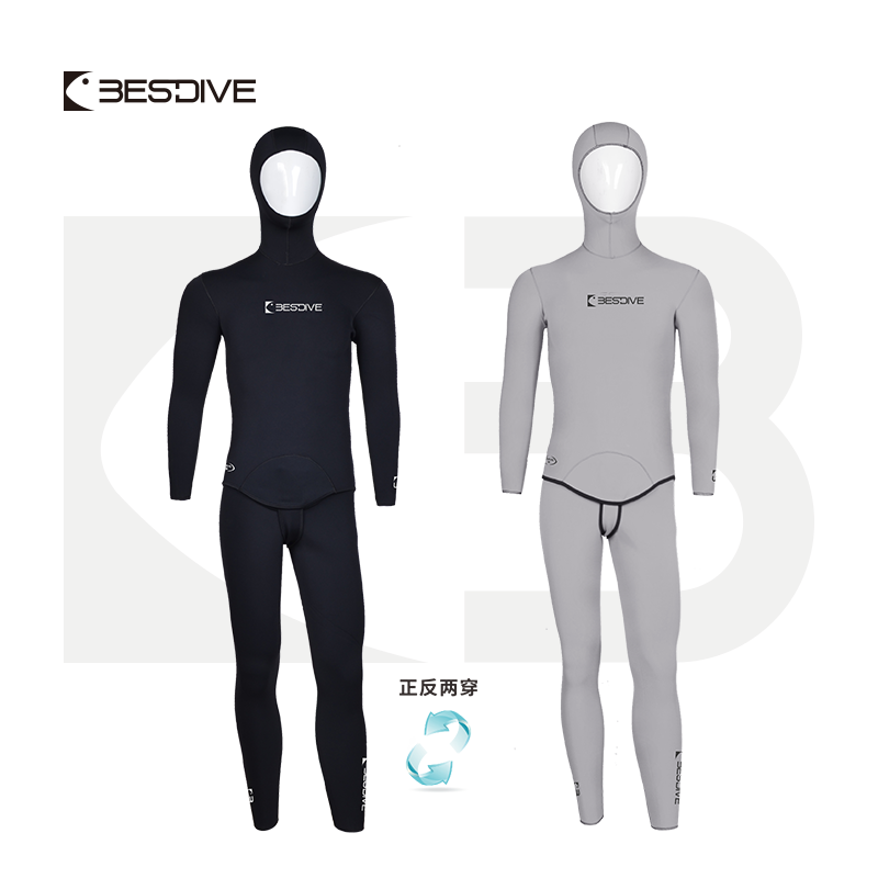 BESTDIVE Yamamoto Neoprene 3mm Two-piece Mens Stretchy Nylon Reversible Hooded Wetsuit for Freediving and Scubadiving