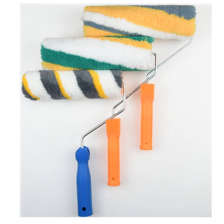 Synthetic Fiber [ Roller Brush ] Paint Roller Brush Green Strip Plastic Handle Cheap Pattern Exterior Paint Roller Brush