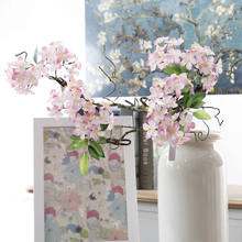 Mini artificial flower branch supply pink artificial cherry blossom