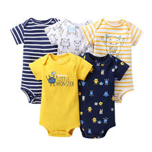 Wholesale 100% Cotton Baby Romper Baby Clothes Cute 5 Pack Baby Romper Set