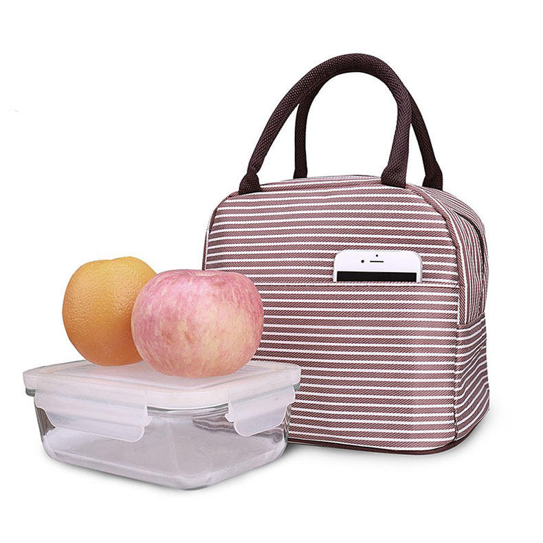 Ready to Ship reusable oxford insulated aluminium foil lunch tote bag for milk fruit bread can portable food cooler bag