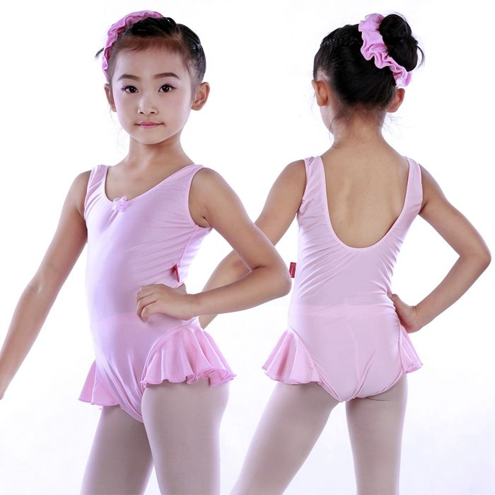 LY00453 Girls Performance Fancy Shiny Lycra Tank leotard Dress with bow flower decoration front kids ballet skirted leotard