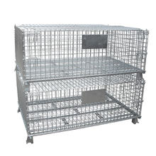 Wire rack stack cage forklifts stacking containers wholesale folding stacking cage